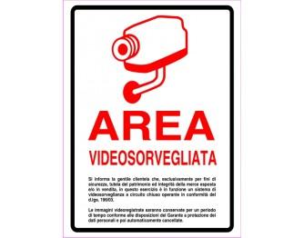 AREA VIDEOSORVEGLIATA ROSSO 20x15cm