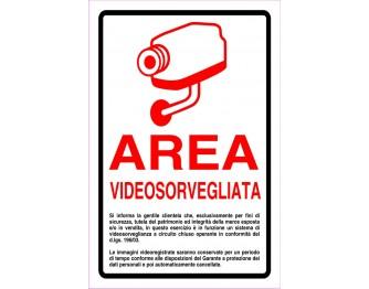 AREA VIDEOSORVEGLIATA ROSSO  30x20cm